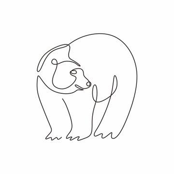 Continuous single line drawing of bear wild animals vector illustration. One hand drawn winter animal mascot minimalism of polar bears.