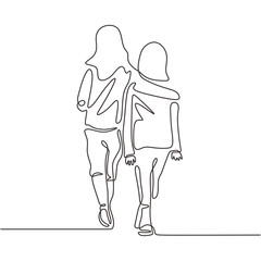 Continuous one line drawing of young girls. Sister, family, and friendship moment theme. Two women walking on the street. Concept of togetherness and act of kindness vector minimalism.