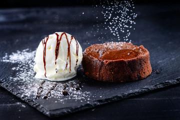dessert ice cream ball chocolate cake
