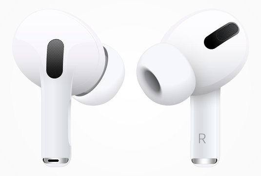 MOSCOW, RUSSIA - November 11, 2019: New AirPods Pro white color view from two sides vector illustration EPS10
