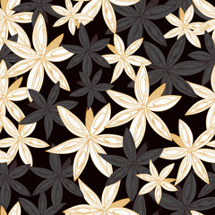 Vector seamless pattern.Seamless pattern with star anise.Cardamom on a dark background.A good idea for a menu of templates, recipes, greetings cards, textiles,       kitchens, cafes, websites, wallpap