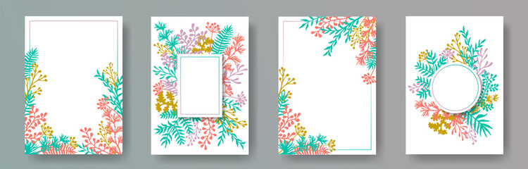 Hand drawn herb twigs, tree branches, flowers floral invitation cards templates. Bouquet wreath romantic cards design with dandelion flowers, fern, mistletoe, olive tree leaves, sage twigs.