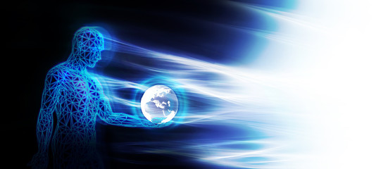 3D anatomy_man_ holding earth_energy flash_banner.jpg Fototapete