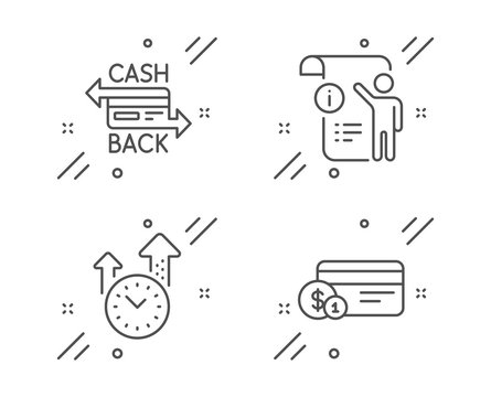 Manual doc, Time management and Cashback card line icons set. Payment method sign. Project info, Office clock, Money payment. Technology set. Line manual doc outline icon. Vector