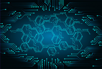 Blue cyber circuit future technology concept background Wall mural