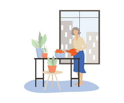 Vector illustration of an old woman watering her home garden