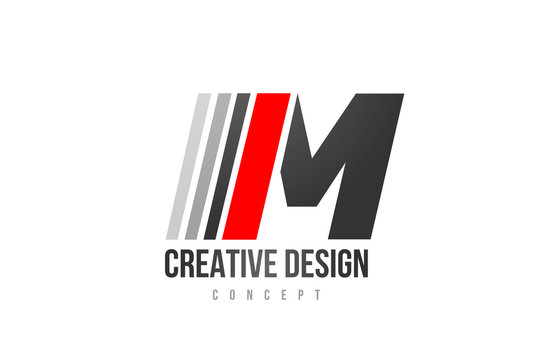 red black alphabet letter M logo icon design for company or business