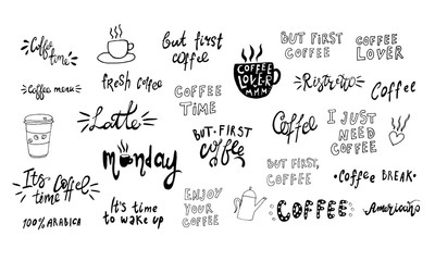 Poster Positive Typography Hand lettering illustration about coffee. Vector Coffee time words and cups to go coffee calligraphy
