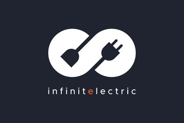 Infinity Electricity Logo isolated on black background Vector Illustration