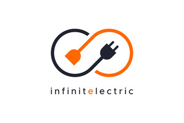 Infinity Electricity Logo Flat Line isolated on white background