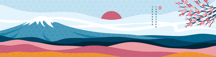 Mount Fuji panorama at sunset with sakura tree. Japanese greeting card or banner for Happy New Year 2020. Clouds, sun and asian patterns in modern style.