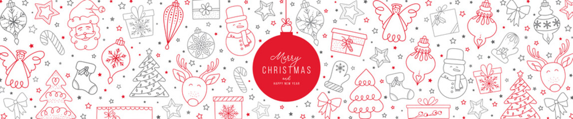 Christmas elements pattern with Santa Claus and friends and greetings. Hand drawn doddle and sketch vector illustration.