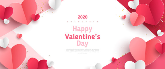 Valentine's day concept frame. Vector illustration. 3d red and pink paper hearts on geometric background. Cute love sale banner or greeting card Fotomurales