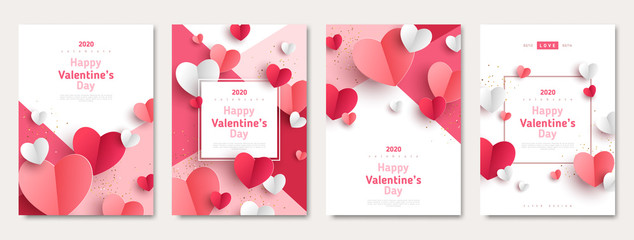 Valentine's day concept posters set. Vector illustration. 3d red and pink paper hearts with frame on geometric background. Cute love sale banners or greeting cards Fototapete