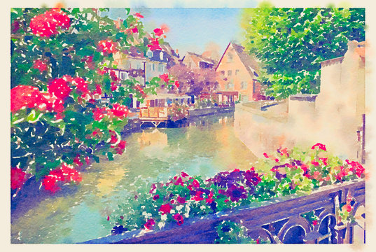 summer Colmar town near Strasbourg, France, watercolor style