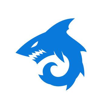 angry Shark monster logo designs symbol