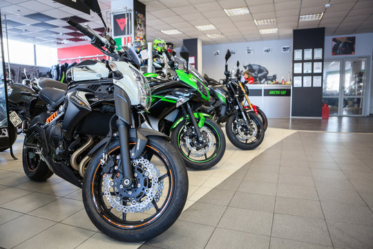New naked motorcycles ER-6 and ER-6F of Kawasaki brand is on sale in motorcycle shop. Official dealership of Kawasaki, Ducati and Arctic Cat is in city