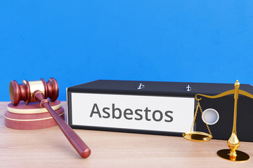 Asbestos – Folder with labeling, gavel and libra – law, judgement, lawyer