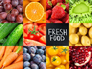 Fruits and vegetables. Background of fresh food Fotobehang