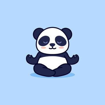 Cute yoga panda, vector cartoon illustration