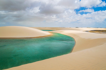 River of transparent water crossing dunes in Brazil