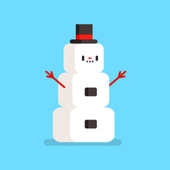 Cute snowman in a hat vector cartoon funny character isolated on background.
