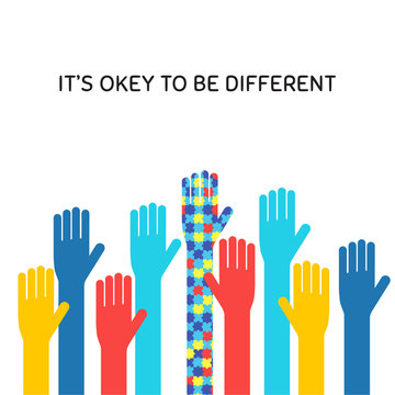 Autism awareness month flat banner concept. Autistic children support symbol with its okay to be different phrase. Colorful raised hands illustration with typography. ASD syndrome tolerance