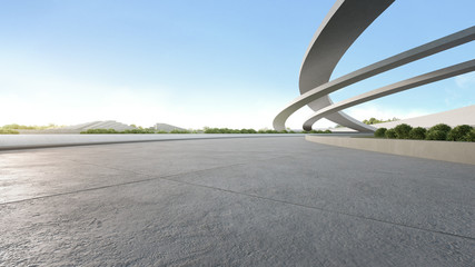 Aluminium Prints Dark grey Empty concrete floor in city park. 3d rendering of outdoor space and future architecture with blue sky background.