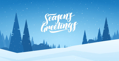 Photo sur Aluminium Bleu jean Blue winter snowy landscape with hand lettering of Season's Greetings and pines. Merry Christmas and Happy New Year.