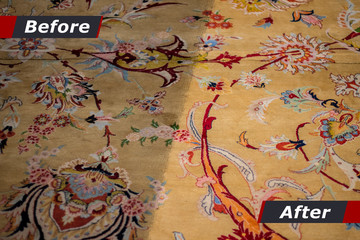 Cleaning of carpets showing before and after cleaning. cleaning company, cleaning carpet.