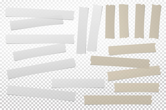 Brown, white adhesive, sticky, masking, duct tape strips for text are on squared gray background. Vector illustration