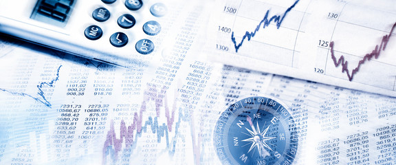 Stock market prices with compass and calculator
