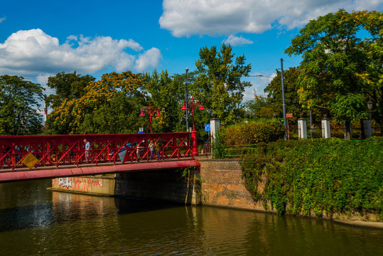 WROCLAW, POLAND: Historic Piaskowy Bridge - an iron bridge erected in Wroclaw in 1861, moved over southern arm of Odra River