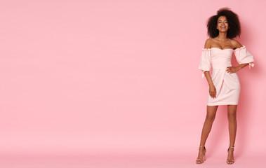 Super cute afro-american model in mini dress. Wall mural