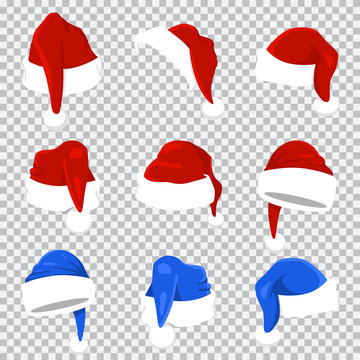Santa Claus hat red and blue set. Vector cartoon Christmas icons isolated on a transparent background.