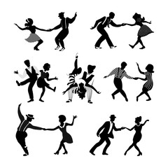 Rock n roll and jazz dancing couples set. Swing dancing silhouettes. people in 1940s and 1950s style. Retro black and white vector illustration.
