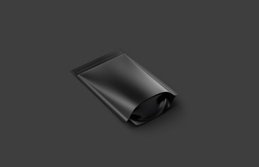 Blank blank plastic zipper pouch mockup lying on dark background