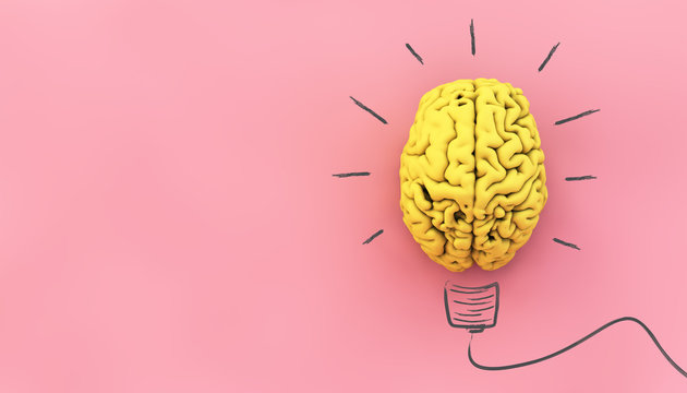 yellow brain on pink background