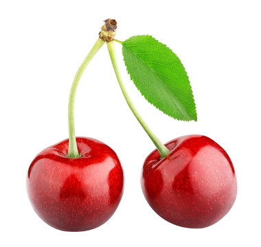 sweet cherry berry isolated on white background