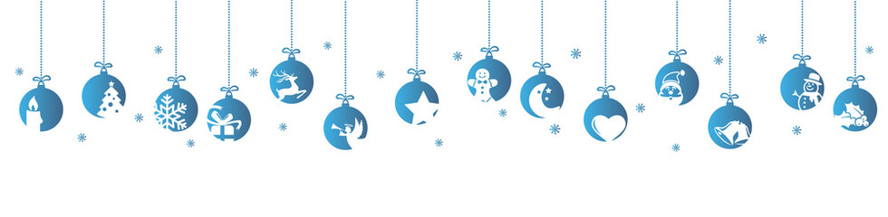 Wall Mural - collection of hanging baubles with christmas icons