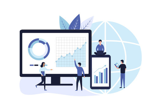 Concept of business planning and strategic analytics. Data analysis, goal setting, sales market research, consulting for company performance. Flat vector illustration isolated on white background.