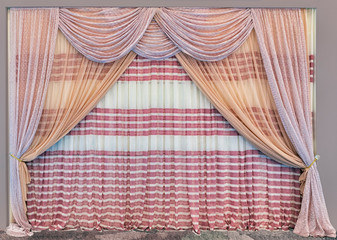 Striped curtains and tulle with lambrequin made of light openwork fabric