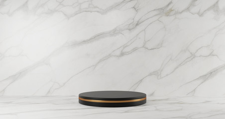 3d rendering of black marble pedestal isolated on white marble background, golden ring, abstract minimal concept, blank space, luxury minimalist mockup