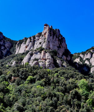 Mountain range in  Santa Maria de Montserrat abbey in Monistrol, Catalonia, Spain