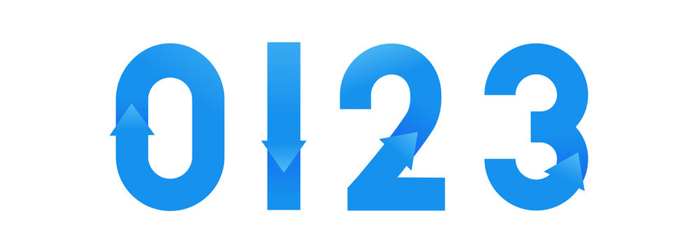 Font number design with blue gradient arrow. Flat logo design. Vector typeface modern typography.