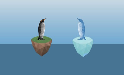 Colorful polygonal style design of penguin,stand on iceberg