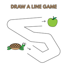 Cartoon Turtle Draw a Line Game for Kids