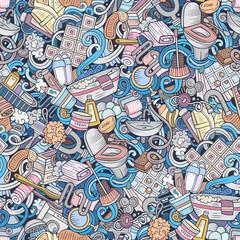 Close up of bathroom hand drawn cartoon doodles pattern