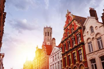Wall Murals Bridges Noordzand street with Flemish houses, Bruges, Belgium