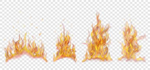 Set of translucent burning campfires of flames and sparks on transparent background. For used on light backgrounds. Transparency only in vector format Wall mural